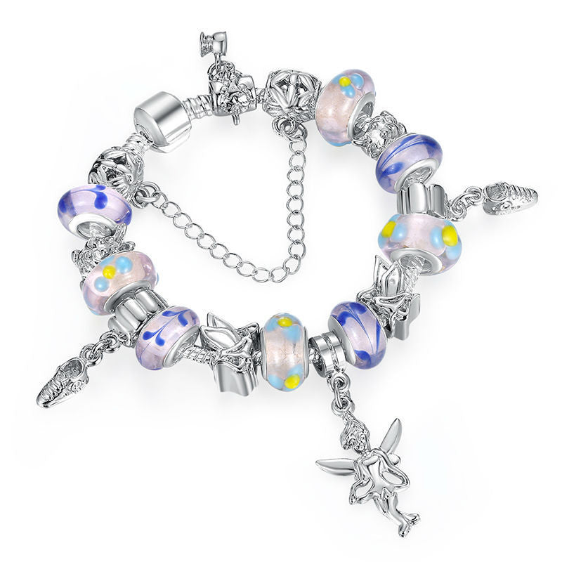 925 Silver Charm Bracleet & Bangles Multicolor Murano Glass for Women Fashion Pulseira Jewelry A1178