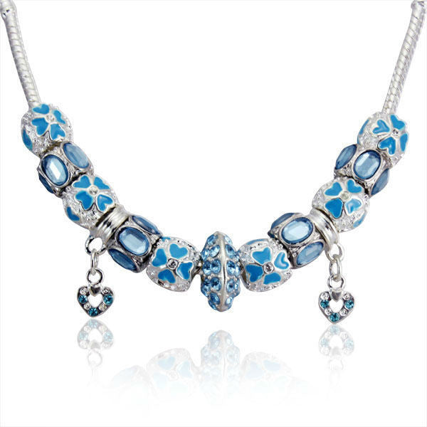 925 Silver Charm Necklace Choker Collar Women Blue Crystal Chain Necklace Compatible with Necklace Jewelry PA2127