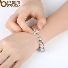 "925 Silver Heart Start Crystals ""LOVE"" Colorful Girl Murano Beads Bracelet for Year  A1871"