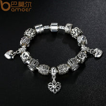 925 Silver Vintage Retro Beads Crown Openwork Heart Pendants Bracelets Year  A1467