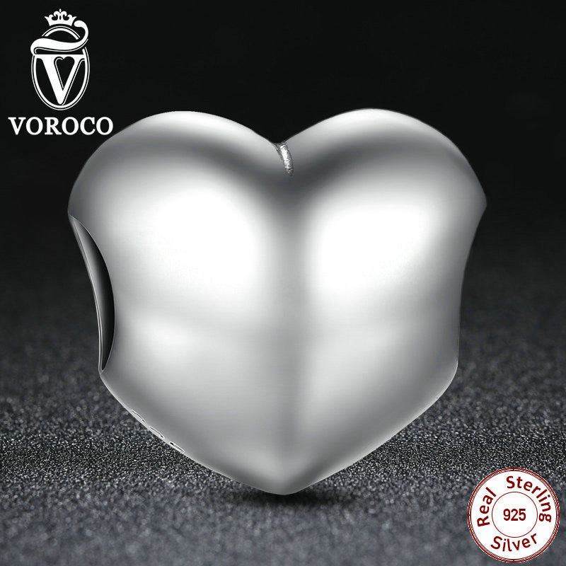 925 Sterling Silver Big Smooth Heart Charms Fit Pandora Bracelets Necklaces Heart Bead Accessories Jewelry Making S002