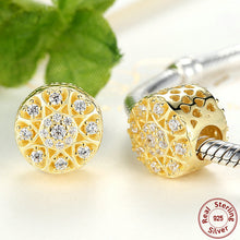 925 Sterling Silver Charms Hearts of Gold, Clear CZ & 14K Gold Charms for Pandora Bracelet Necklace Jewelry Making S264