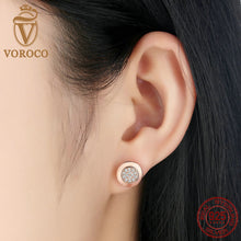 925 Sterling Silver Classic Rose Gold Plated Clear CZ Zirconia Female Earrings Compatible with VRC Jewelry Brincos S453