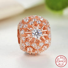 925 Sterling Silver INNER RADIANCE Rose Gold & CLEAR CZ Sunburst Pattern Charm Fit Pandora Bracelet DIY 14K gold Jewelry S177