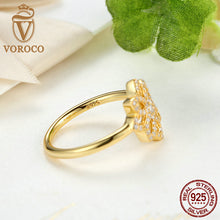 925 Sterling Silver Lace Botanique, Clear CZ & 14K Gold Flower Ring Original Compatible with VRC Jewelry A7142