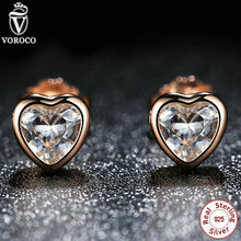 925 Sterling Silver Love Heart Stud Earrings, Rose Gold Plated & Clear CZ Earring Female Brincos Fashion Jewelry PS452
