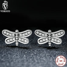 925 Sterling Silver Petite Clear CZ Dragonfly Stud Earrings Compatible with VRC Jewelry S412