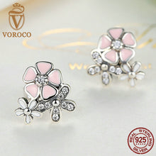 925 Sterling Silver Poetic Daisy Cherry Blossom Mixed & Clear CZ Pink Flower Women Drop Earrings Compatible with VRC Jewelry