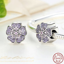 925 Sterling Silver Sparkling Primrose Pink & Purple CZ Charms Fit Original Pandora Bracelet Charms for Jewelry Making S024
