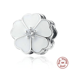 925 Sterling Silver WHITE PRIMROSE CLIP Charms fit Original Pandora Charm Bracelet Women Beads & Jewelry Making S288