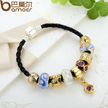 Asian 925 Silver Leather Charm Bracelets & Bangles for Women With Murano Glass Beads Gold Charm DIY Birthday  A1420