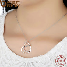 Authentic 925-Sterling-Silver Heart to Heart Pendants & Necklaces, Clear CZ Necklace Compatible with Pan Jewelry SN003