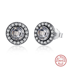 Authentic 925 Sterling Silver Brilliant Legacy Stud Earrings With Clear CZ Compatible With VRC Women Wedding Jewelry S422