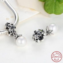 Authentic 925 Sterling Silver Daisy Flower with Pearl Pendant Fit Pandora Original Necklace DIY Accessories Jewelry S089
