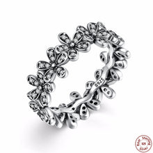 Authentic 925 Sterling Silver Dazzling Daisy Meadow Stackable Flower Rings Compatible with VRC Jewelry with Clear CZ A7122