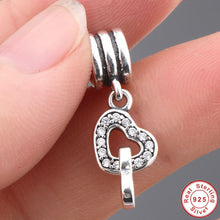Authentic 925 Sterling Silver Interlocking Love Rose CZ Pendant & Charms Fit Original Pandora Bracelet Heart Jewelry S043