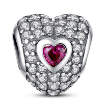 Authentic 925 Sterling Silver Princess Heart Pink CZ Charm Charms Fit Pandora Bracelet with 14K Gold Jewelry Making S005