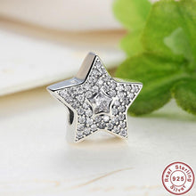 Authentic 925 Sterling Silver Wishing Star Charm Fit Pandora Bracelet With Clear Cubic Zirconia DIY Accessories Superstar S070