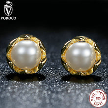 Authentic Freshwater Cultured Pearl Stud Earrings 14K Gold 925 Sterling Silver Compatible with Original VRC Jewelry S419