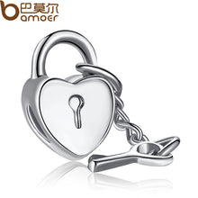 Authentic Key To My Heart LOVE Charm Fit Pandora Bracelet Necklace Original Silver Plated Accessories A5264