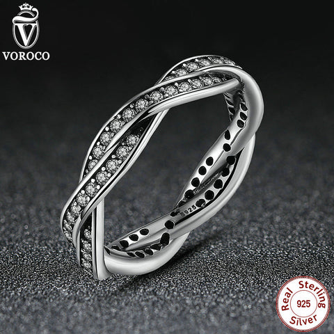 Authentic Original 925 Sterling Silver BRAIDED AVE SILVER RING with CUBIC ZIRCONIA Rings Compatible with VRC Jewelry A7116