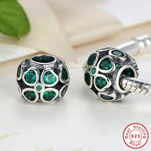Authentic Sterling Silver 925 Green Lucky Four-Leaf Clover Charms Fit Pandora Bracelet & Necklace Dark Green CZ Jewelry S163