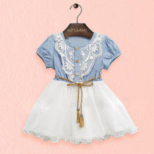 Baby Girls One piece Dress Lace Button Belt Short Sleeve Clothes Dresses