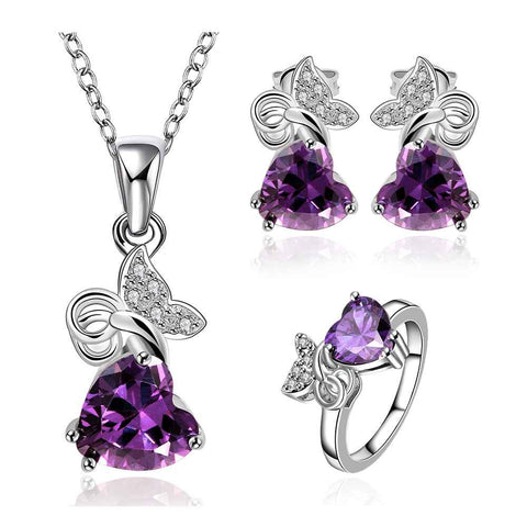 Best Gift Platinum Plated ruby jewellry violet so beauty shine N+R+E display jewelry sets floating charmsFBLS036