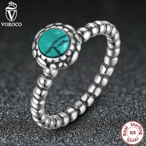 Fashion 925 Sterling Silver Birthday Blooms December Turquoise Ring