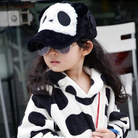Unisex Kids Girls Boys Panda Pattern Baseball Hat Plush Flat Cap 2-6Y