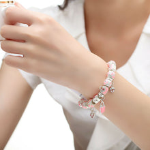 Charm Bracelets Bangle for Women With Pink Murano Glass Beads Bag Charm DIY Pulseras A1338