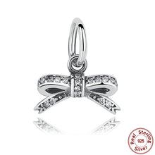 Christmas 925 Pure Silver Sparkling Bow knot Pendant Clear CZ Charms Fit Pandora original Bracelets Jewelry Accessory S185