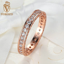 Classic Wedding Rose Gold Plated Rings with Zircon 3mm Width Fashion Finger Ring Compatible with Original Pan Jewelry A7215