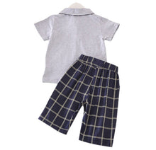 Cool Gentry Boys Outfits T-Shirt Tops + Plaid Pants +Mustache Tie Set Clothes TF99