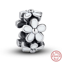Darling Daisies Spacer, White Enamel Lovely Warm  Charms Fit Pandora Original Bracelet 925-sterling-silver Silver Beads S144
