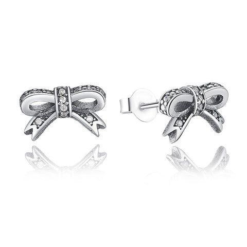 Delicate 925 Sterling Silver Sparkling Bowknot Stud Earrings for Women Clear CZ Compatible with Pan Jewelry S407