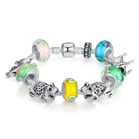 European 925 Silver Beads Bracelets & Bangles for Women With Murano Glass Beads and Animal Charm DIY Jewelry A1038
