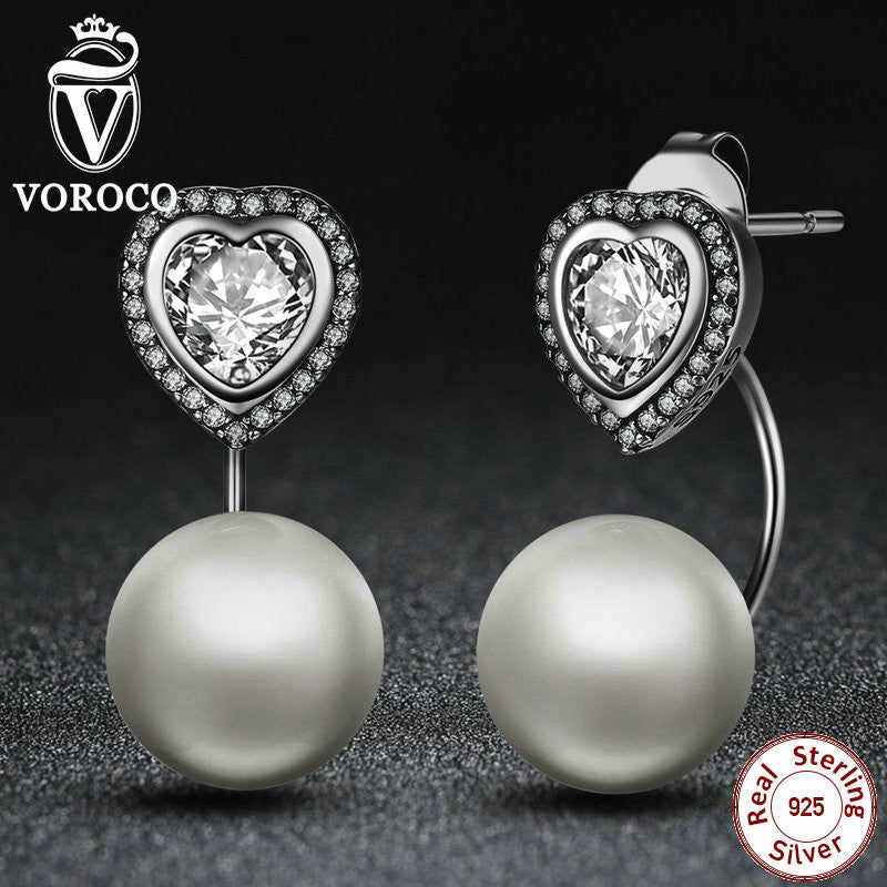 Fashion Jewelry Authentic 925 Sterling Silver Heart and Pearls Female Dangle Earrings Jewelry Earrings Accessories CCE003