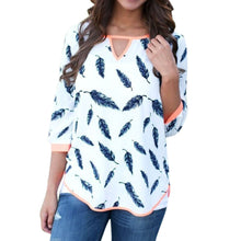 Blusas V-neck Long Sleeve Cotton Loose Shirts Casual Leaves Print Blouses TopsHG