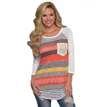 Long Sleeve Loose Shirts Striped Tops Casual Shirt Tops Blouse