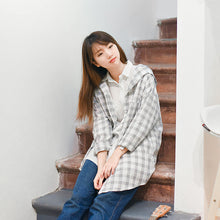 Fluid Plaid Shirt  Long-sleeve Medium-long Loose Thin Outerwear
