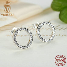 Forever Clear CZ 925 Sterling Silver Circle Push-back Femme Simple Stud Earrings Compatible with VRC Jewelry Boucle S437