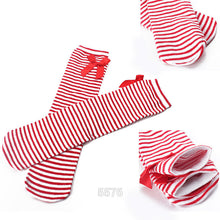 Cotton Kid Baby Bowknot Stripes In tube Socks 1-8Y Girls Dress High