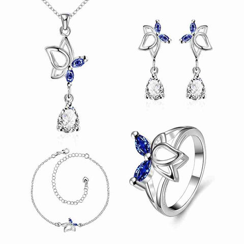 Best Gift silver plated jewelry set Dance Butterfly Necklace +Earrings+ Ring + Anklet love