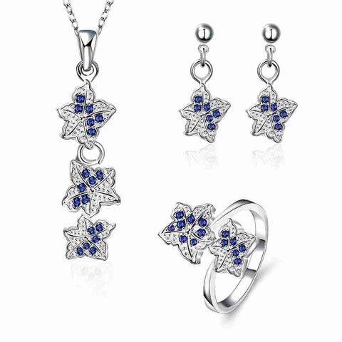 Best Gift silver plated stamp jewelry set Double star studded Crystal Ring + Necklace+Earrin wedding jewelry