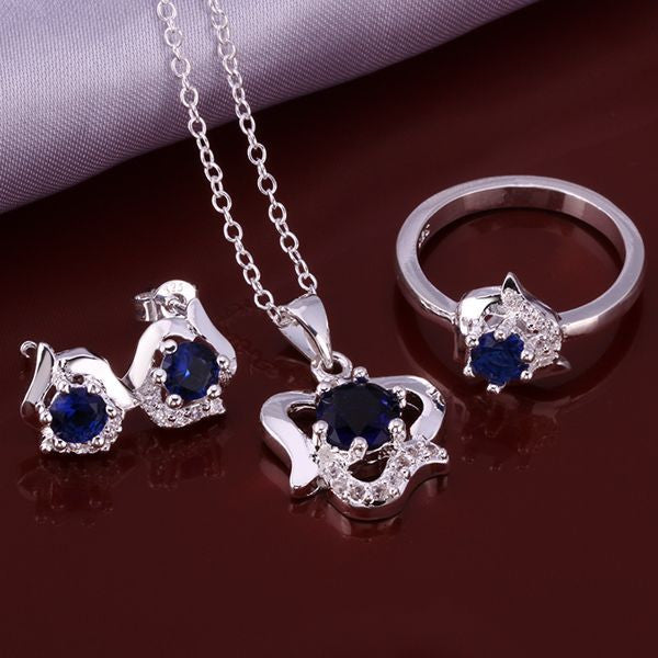 Fashion jewellery charms silver-plated jewelry set blue rose R+E+N jewelry display