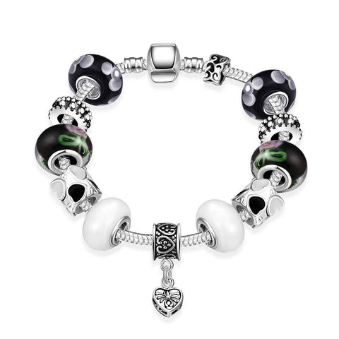 Beautiful Fashion silver plated stamp bracelet Solemn beads fall bracelet girl love
