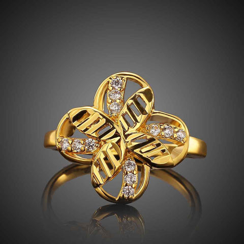 Vintage Love 18k gold plated rings for men clover anel horloge SKGR060
