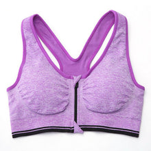 Front Zip  Racerback exercise Bra Fitness Padded Stretch Workout Top Tank