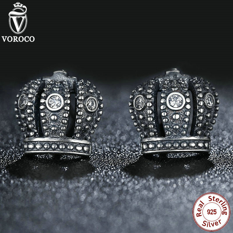 925 Sterling Silver Royal Crown Stud Earrings Clear CZ With Clear CZ Compatible with VRC Jewelry Special Store S410